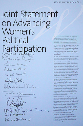 Joint statement on advancing women's political participation