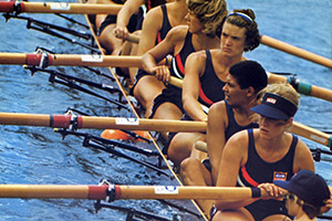 Anita DeFrantz (second from the bottom) with the U.S. Rowing Team at the 1976 Olympic Games in Montreal, where she won the bronze medal in women's eight.