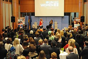 """One Woman"" song artists Yuna (left) and Debi Nova (right) gave delegates a sneak peak performance at the high-level event. (Photo: UN Women/Catianne Tijerina.)"