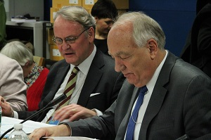 UN Women Deputy Executive Director John Hendra (left) and Ambassador Stephen Rapp, US Ambassador at Large for War Crimes Issues (right) participated in the side event on reparations. Photo credit: Permanent Mission of Finland to the UN/Tiia Rantanen