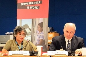 At a side event on 11 March, UN Women's Saraswathi Menon (left) and the ILO's Kevin Cassidy (right) discussed how Governments can enact or strengthen national standards to protect domestic workers. Photo credit: UN Women/Jen Ross