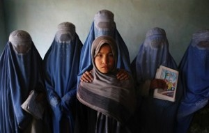 "One of the images from the ""Women Between Peace and War: Afghanistan"" exhibition."
