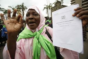 A Kenyan activist at a 2011 demonstration in support of the new constitution, which enshrines women's rights.