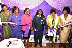 Kenya's Women's Situation Room is launched by UN Women Country Director Zebib Kavuma (on far left), Assistant Police Commissioner Beatrice Nduta (centre), and members of the Team of Eminent Persons.