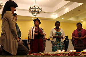 Initiation of a Mayan ceremony, led by Ana Laynes, indigenous leader and Mayor of Nebaj, Guatemala, to open the Post-2015 Consultation with Indigenous Women on 8 April. Photo credit: UN Women/Marco Barrera