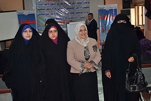 Women candidates and their election trainer following a recent training in Kut. Pictured from left to right: Sanaa Isaa, candidate from the Iraq of Wealth and Giving coalition; Radhiea Ali Salim, candidate of the Gathering of Loyal Hands party; Sanaa Al-Taai, trainer; and Sajida Nezer, Al-Ahraar coalition. Sajida Nezer won her seat with a total of 1,495 votes. Photo courtesy of the Iraq Foundation