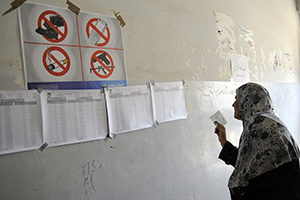 A voter searches for her polling station location during Iraq's last parliamentary elections, on 7 March, 2010. Photo credit: UN Photo/Rick Bajornas