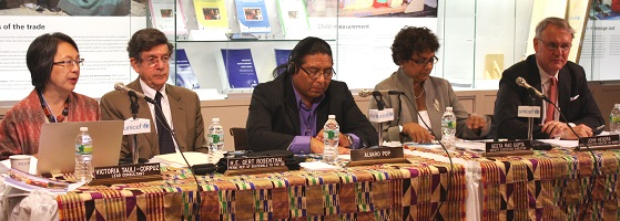 Speaking at the launch event on 28 May, are (from left to right): Victoria Tauli-Corpuz, lead consultant of the report and former chairperson of the UN Permanent Forum on Indigenous Issues (UNFPII); Ambassador Gert Rosenthal, Permanent Representative of Guatemala to the UN; Alvaro Pop, Moderator, children and youth expert of the UNPFII; Geeta Rao Gupta, Deputy Executive Director of UNICEF; and John Hendra, Assistant Secretary-General and Deputy Executive Director of UN Women. Photo credit: UN Women/Nuria Felipe Soria