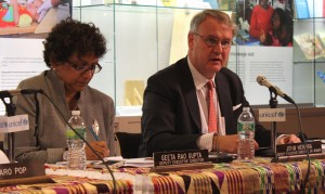 Geeta Rao Gupta, Deputy Executive Director of UNICEF (left) and John Hendra, Assistant Secretary-General and Deputy Executive Director of UN Women (right), spoke at the launch event of a publication on violence against indigenous girls during the UN Permanent Forum on Indigenous Issues in New York on 28 May, 2013. Photo credit: UN Women/Nuria Felipe Soria