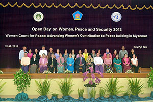 In the city of Nay Pyi Taw, 120 participants took part in a meeting on women's role in the peace process on 31 October 2013 – marking Myanmar's first Open Day on Women, Peace and Security. Photo: Myanmar Women's Affairs Federation
