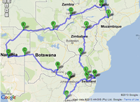 Africa bike ride route