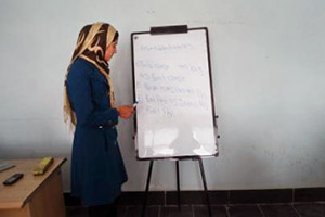 Beheshta is currently teaching English to new students in the same ICT Centre where she studied in Parwan Province. (Photo: UN Women/Fahim Akbari)