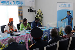 Arlette Mvondo, National Programme Officer UN Women, joins Justine Diffo, National Coordinator of the NGO More Women in Politics, and Paul Ngounou, journalist for Cameroon Radio Television (CTRV), in a panel discussion with traditional and religious leaders, UN system partners and representatives of the Cameroon's political parties in September 2013. Left to right: Justine Diffo, National Coordinator of the NGO More Women in Politics; Arlette Mvondo, National Programme Officer UN Women; and Paul Ngounou, journalist for Cameroon Radio Television (CTRV). Photo: UN Women