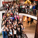 Young womeneladers from Panama posing on the staircase