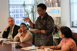 UN Women Executive Director Phumzile Mlambo-Ngcuka meets with civil society partners based in New York. The first of many meetings she will have with civil society organizations and women's groups, it takes place in the Executive Director's second week and highlights the priority she gives to this important constituency.