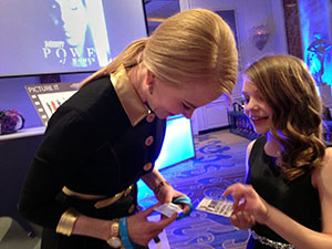 UN Women Goodwill Ambassador Nicole Kidman greets a young activist and fan following the awards ceremony.