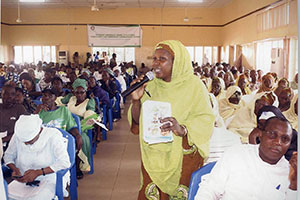 Cross section of grassroots leaders at a programme on popular paricipation. Photo credit: Community Life Project