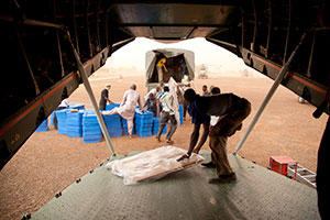 On 2 July 2013, in Gao, northern Mali as part of MINUSMA support for the country's election process, UN planes transport electoral material to northern regional centers, where the material is handed over to the local authorities.
