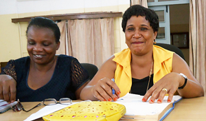 Esther Nathai Mufui (left) is Treasurer and Emmy Kiula (right) is Chairperson of the Tanzanian Women in Food Processing Trust, through which more than 200 women have pooled their resources to spur local agribusiness. Photo credit: UN Women, Laura Beke.