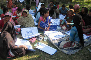 Women voters from Kailali district in far-west Nepal participating in an orientation session for the 2013 Constituent Assembly election on 11 November 2013.  Photo: Pro-Public