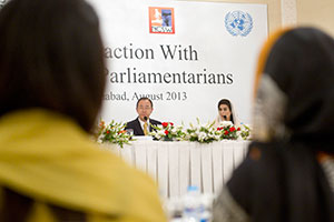 Secretary-General Ban Ki-moon participates in a round table with women parliamentarians of Pakistan.