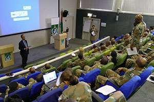 Major General Patrick Cammaert conducted a course for peacekeepers at Pretoria's Peace Mission Training Centre in South Africa, from 29-30 July 2013.