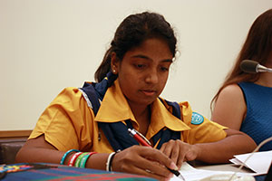 Sri Lankan Girl Guide Chamathya Fernando, 20, attends the forum. Photo: UN Women/Inés Esteban González