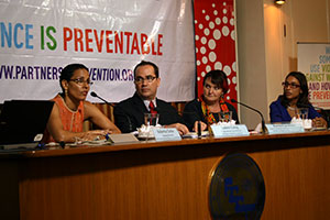 "From left: Roberta Clarke, Regional Director of UN Women Asia-Pacific; James Lang, Programme Coordinator of Partners for Prevention; Rachel Jewkes, Lead Technical Advisor on the paper; Dr. Emma Fulu, Research Specialist, Partners for Prevention at the launch of the report ""Why Do Some Men Use Violence Against Women and How We can Prevent it"" at the Foreign Correspondents' Club of Thailand, 10 September 2013."