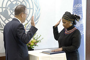 Phumzile Mlambo-Ngcuka was sworn in as Executive Director of UN Women by United Nations Secretary-General Ban Ki-moon at 8:45 am on 19 August 2013.