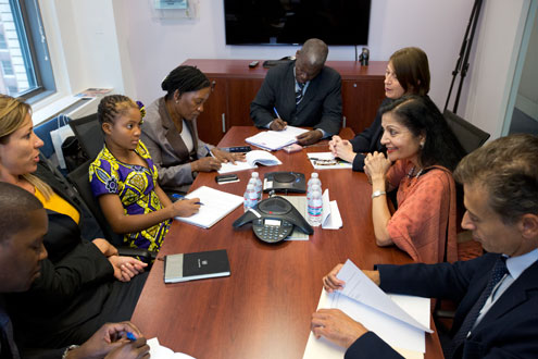 Raquelina meets with members of UN Women's Senior Management Team. Photo: UN Women/Ryan Brown