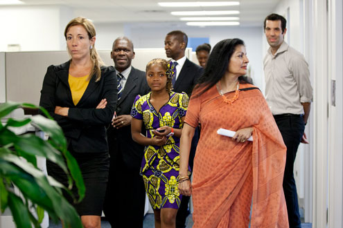 Raquelina did a short tour of the UN Women office. Photo: UN Women/Ryan Brown