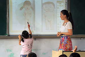 In China, girl learns how to identify human body parts