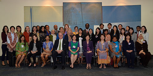 Government representatives who took part in the Asia-Pacific Regional Preparatory meetings for CSW58 in Bangkok, pose for a photo op on 12 February. UN Women Bangkok/Montira Narkvichien