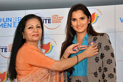 UN Women Deputy Executive Director Lakshmi Puri with Sania Mirza (right), UN Women's new Goodwill Ambassador for South Asia. Photo: UN Women