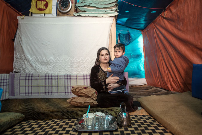 refugee mother and son
