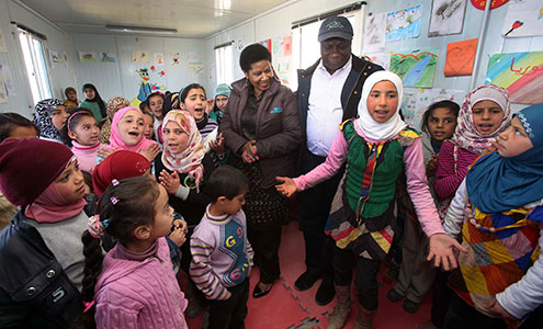 Executive Director Phumzile Mlambo-Ngcuka and UN Resident and Humanitarian Coordinator in Jordan Edward Kallon visit Za'atari refugee camp for Syrian refugees during her trip to Jordan from 20 to 23 February 2014. Photo: UN Women Jordan/Abdullah Ayoub