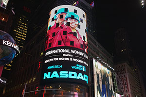 UN Women's work on gender equality and women's empowerment was featured on the NASDAQ OMX Tower in Times Square in New York City on International Women's Day 2014 (8 March). Photo: UN Women/Jaya Jiwatram