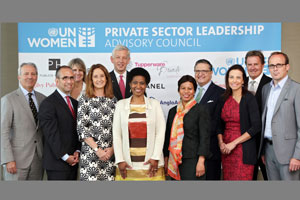 The launch of UN Women's Private Sector Leadership Advisory Council, held at United Nations Headquarters in New York on 2 June 2014.  From left to right, first row:  Mr. Christopher Graves, Global CEO of Ogilvy Public Relations; Mr. Michael Goltzman, Vice-President of International Government Relations & Public Affairs, The Coca-Cola Company; Ms. Marcela Manubens, Global Vice-President for Social Impact, Unilever; Phumzile Mlambo-Ngcuka, Executive Director, UN Women;  Ms. Khanyisile Kweyama, Executive Director & CEO, Anglo American South Africa; Ms. Dina Habib Powell, President, Goldman Sachs Foundation and Global Head of Corporate Engagement; Mr. Andrew Bruce, North America CEO, Publicis. Second row: Ms. Sarah François-Poncet, Chief Legal Council & Secretary General, Chanel Foundation; Mr. Dominic Barton, Managing Director, CEO, McKinsey & Company; Mr. Emmanuel Lulin, Senior VP & Chief Ethics Officer, L'Oréal; and Mr. Rick Goings, Chairman & CEO, Tupperware Brands Corporation.  Photo: UN Women/Ryan Brown