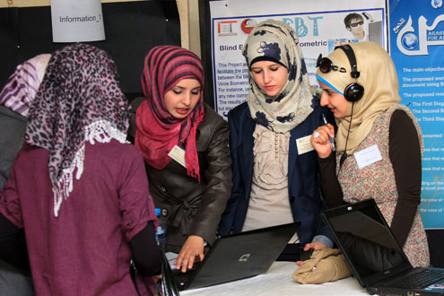 At Jordan's Fifth National Technology Parade, university students showcased technology projects spanning renewable energy and water to robotics.  Photo: UN Women/Hamza Mazra'awi