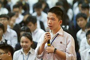 A teenaged boy at Chu Van An high school in Hanoi