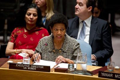 UN Women Executive Director Phumzile Mlambo-Ngcuka speaks at the Open Debate on women, peace and security on 13 October. Photo: UN Women/Ryan Brown