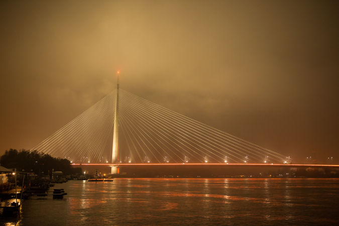 Ada Bridge in Belgrade, Serbia will be lit orange for the entire 16 Days of Activism against Gender-Based Violence. Photo: Branko Starcevic