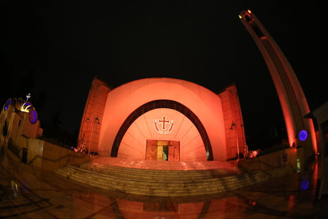 Orthodox Cathedral in Tirana, Albania was lit in orange on 25 November supporting UNiTE to End Violence against Women campaign. Photo: UN Albania