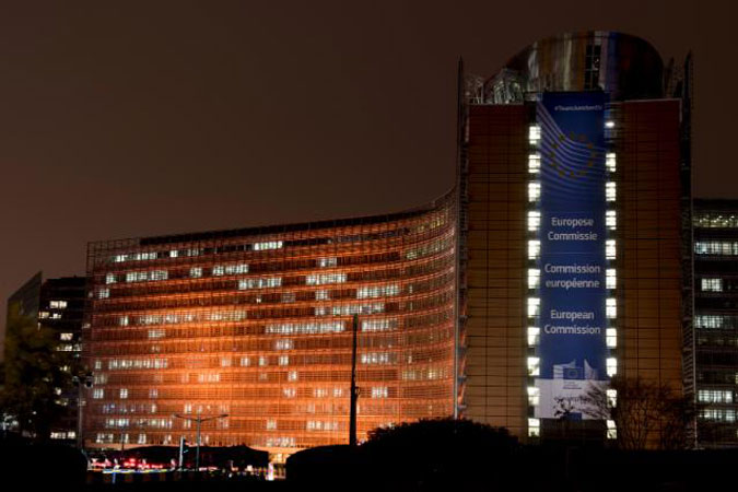 The Berlaymont building in Brussels, Belgium was lit in orange in support of the '16 Days of Activism against Gender-Based Violence' campaign. Photo: European Commission, 2015