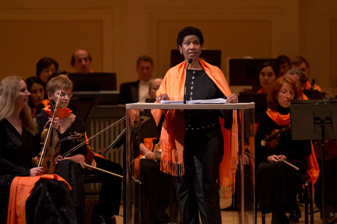 UN Women Executive Director Phumzile Mlambo-Ngcuka thanked the musicians for donating their artistry. Photo: UN Women/Ryan Brown