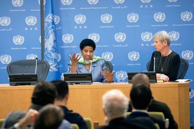 Executive Director Phumzile Mlambo-Ngcuka speaks at press conference