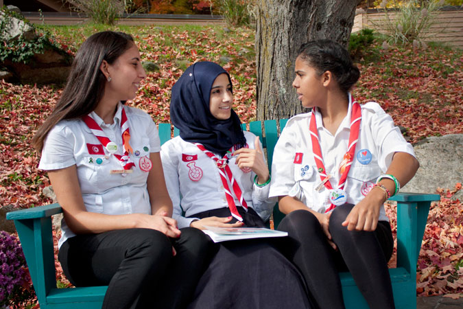 Naouel, Rihab and Hanine, National Trainers from the Tunisian Girl Guides, and participants of the Voices against Violence training workshop, will be working with UN Women in Tunisia to translate the curriculum into Arabic and to engage young people on the issue, so that girls don't grow up believing violence is the norm. Photo: UN Women/Urjasi Rudra