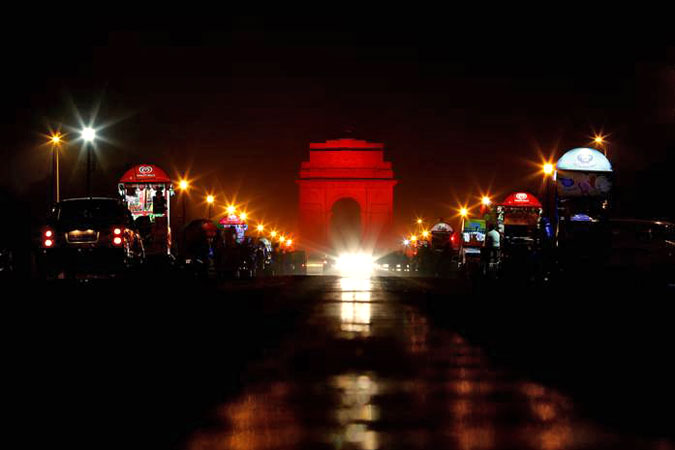 In New Delhi, India, the iconic India Gate was lit orange during the 16 Days of Activism against Gender-Based Violence. Photo: UN Women