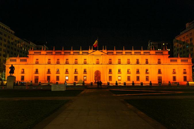 In Santiago, Chile, to mark the International Day to End Violence against Women La Moneda, was lit in orange on 25 November.