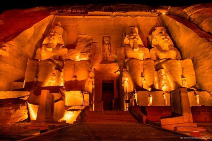 The Abu Simbel Temples in Egypt, went orange to show support for ending violence against women. Photo: UN Women